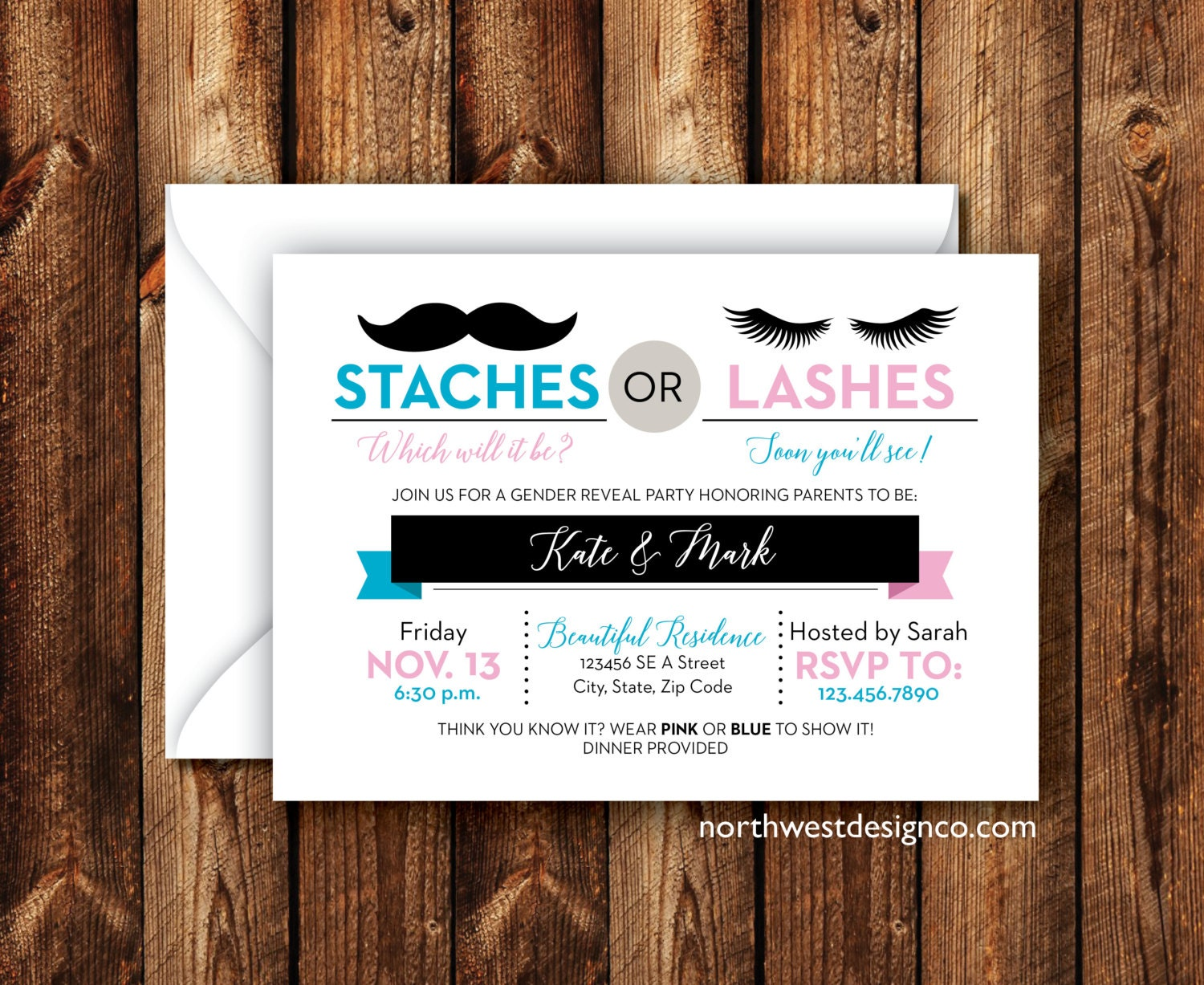 Modern Gender Reveal Party Invitation Staches or Lashes Baby