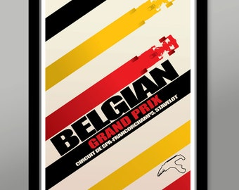 Belgian Grand Prix Race Inspired Minimalist Poster - Home Decor