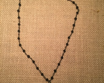 Wire wrapped beaded chain necklace with a pace moon charm