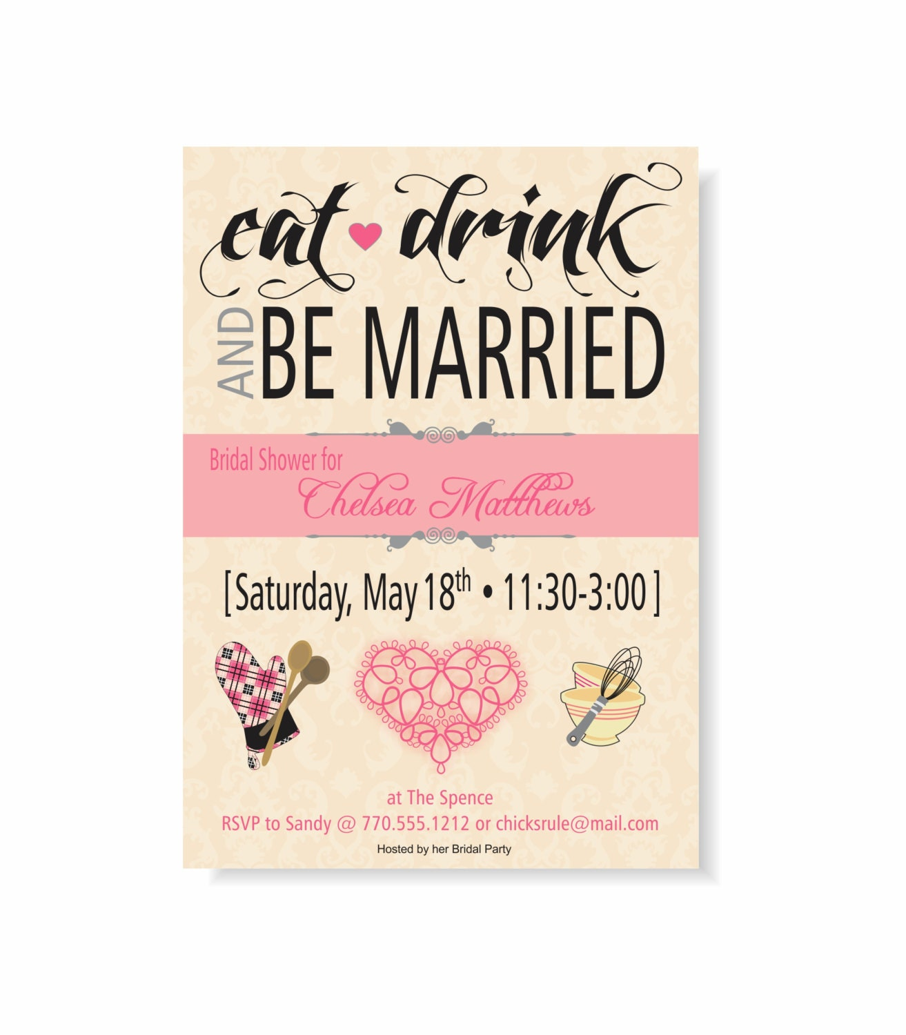 Eat Drink Be Married Bridal Shower Invitation Pink Damask