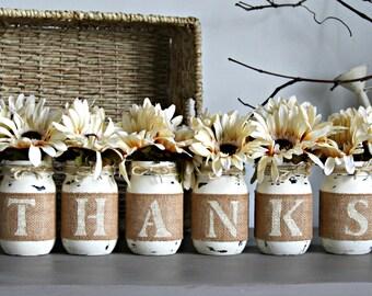 Thanksgiving Table Decor-Thanksgiving Centerpieces-Fall Table Decor-Rustic Home Decor-Thanks Mason Jars-Farmhouse Table Decor-Rustic Table