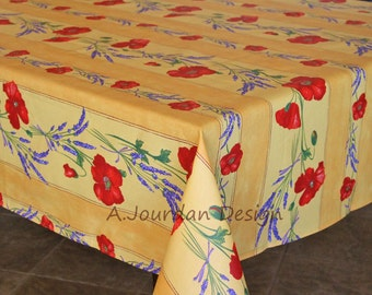 French Provence POPPY LAVENDER YELLOW Rectangle Tablecloths - French Oilcloth Indoor Outdoor Coated Tablecloth - French Table Decor Gifts