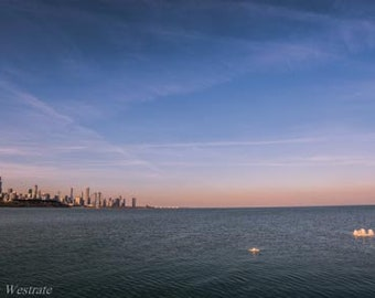 Chicago Skyline and an iceberg. Chicago, IL. Photography Print. Landscape. Wall Art. Home Decor. Urban. Nightscape. Nature. Lake.