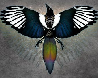 MAGPIE OTHERWORLD ※ Nordic Bird Viking Celtic Color Sparkle Shine Ancient Magic Crow Raven Lunula Solar Wheel Art