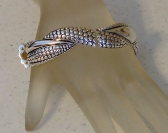 Vintage Silver Bangle Bracelet Fits 7.5 Inch Wrist and Smaller .75 Inches Wide Stretch Bangle Previously 25 Dollars ON SALE (D)