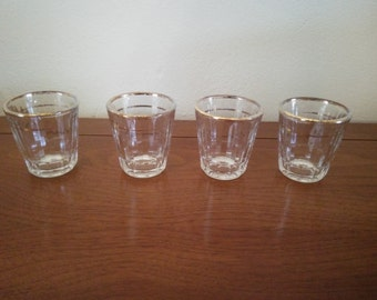 Vintage shot glasses - Set of Four with Gold Trim - Very Old Shot Glasses - Shot Glasses