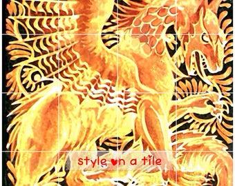 "Arts and Crafts William De Morgan Gold Yellow Dragon & Beast 432mm x 432mm 17"" x 17"" square ceramic tile mural mosaic wall art splash back"