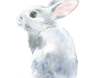 Watercolor Painting Bunny - Gray Bunny Rabbit - 8 x 10 - Gray Nursery Art - 8.5 x 11 Giclee Reproduction Art Print