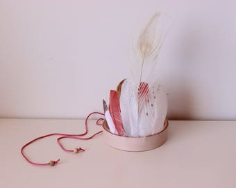 PEACH SORBET feather crown headdress headpiece peach pink leather indian kids