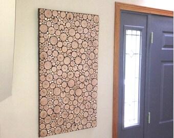WOOD SLICE ART, Wood Slice Collage, Wood Slice Mosaic, Wood Slices, Wood Slice Panel, Wall Hanging