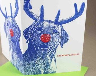 Smiling LAB Rudolph Merry and Bright Holiday Cards, Set of 10