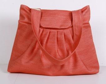 Shoulder Bag ,Everyday Purse ,Tote Bag , Orange.