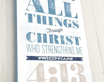 Bible Verse on Canvas, Typography, Scripture Wall Art, Philippians 4:13, Christian Art Decor, Premium Canvas