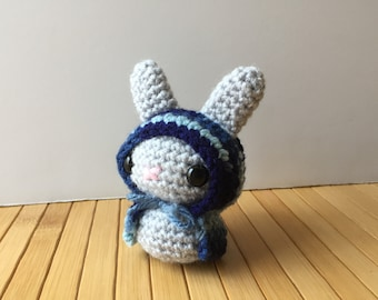 Blues-y Forest Moon Bun - Amigurumi Bunny Rabbit with Removable Hood - Red Riding Hood Style Bunny