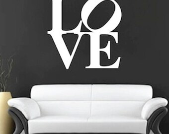 Love Square Wall Decal, Love Wall Decal, Romantic Decals, Bedroom Love Decals, Modern Love Wall Quotes, Romantic Wall Sayings, e84