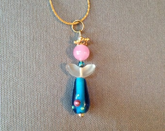 Angel necklace in pink and blue