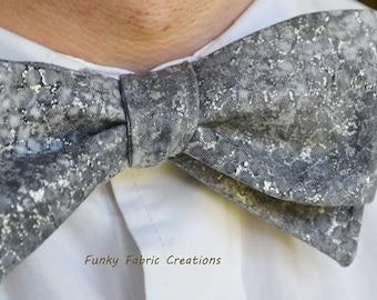 Mens Grey Bow Tie, Metallic Bow Tie, Self-Tie Bow Tie, Mens Bow Tie, Cotton Bow Tie, Mens Self Tie Bow Tie, Metallic Bowtie, Formal Wear