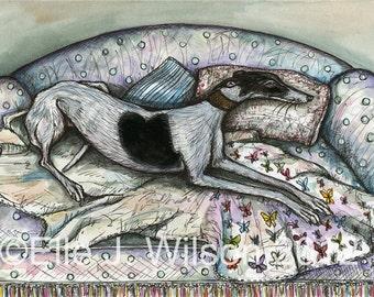Feeling a little fluttery - Greyhound Art Dog Print