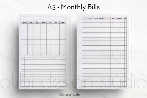 monthly bill planner