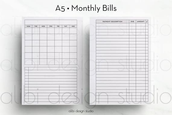 Bill Tracker A Planner Monthly Planner Finance Planner A