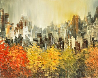 City painting canvas print of original palette knife cityscape highrise park OVER THE TREETOPS by Tatiana Iliina Free shipping North America