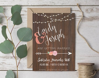 """Rustic Save-the-Date with Arrow 5x7"""" DIGITAL or PRINTABLE"""