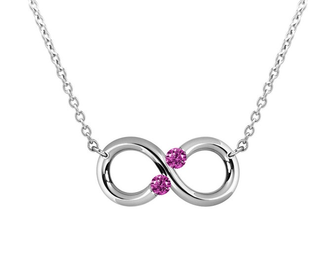 Taormina Infinity Necklace Pink Sapphire Tension Set Steel Stainless