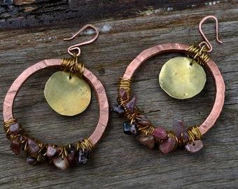 Créoles/Poids d'oreilles en Rhodonite, Cuivre & Laiton