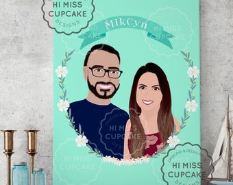 Custom Portrait Illustration // Half Body / Hand Illustrated/ Floral Wreath/ Wedding /Anniversary /Hand Lettered /Couple Gift/ Wall Art