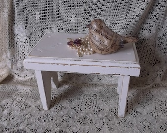 Shabby white foot stool, wood, Rustic chic, distressed foot stool, vintage painted