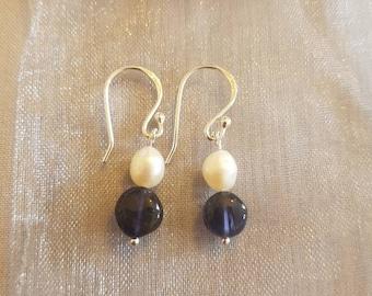 Sterling Silver, Freshwater Pearl and Iolite Drop Earrings