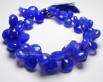 Dark Cobalt Blue Chalcedony Heart Briolette 10 to 12mm - 1/2 STRAND