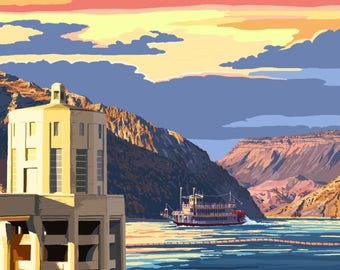 Lake Mead, Nevada / Arizona - Paddleboat and Hoover Dam - Lantern Press Artwork (Art Print - Multiple Sizes Available)
