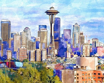 Seattle Cityscape Watercolor painting Wall art Watercolor cities Aquarelle Space Needle Seattle decor Seattle poster Printable art Art gifts