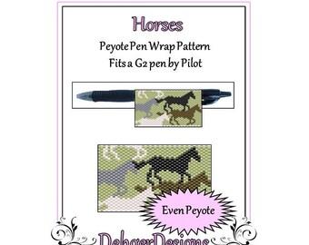 Peyote Beading Pattern (Pen Wrap/Cover)-Horses