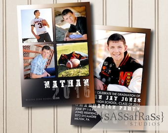 The Nathan--5x7 ADOBE PHOTOSHOP Graduation Announcement Template for Photographers, DIY, Graduation Party, Open House