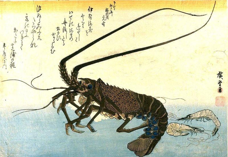 Crawfish Spiny Lobster & Shrimp Fine Art Print Hiroshige