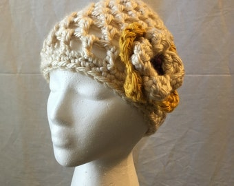 Cream crochet knit fall/ spring beanie hat, yellow purple flower accent