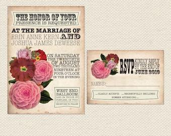Printable Vintage Wedding Invitation and RSVP card