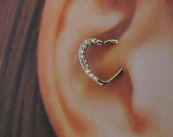 14k White Gold Daith Piercing Multi cz Bendable Heart Ring..16g..Solid Gold (Right Ear)