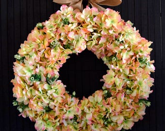 Spring Hydrangea Front Door Wreath
