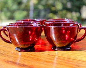 eight small retro red glasses roly poly : teacups