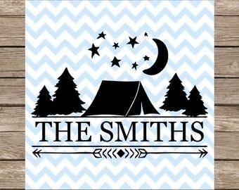 Camping svg, Split Monogram svg, Tent svg, Monogram svg, svg designs, svg files for cricut, svg silhouette, Family Sign, silhouette cameo