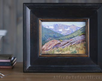 Plein Air Painting | Original Painting from the Rocky Mountains | Signed Oil Painting in black frame | Colorful painting.