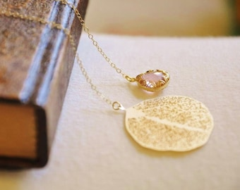 Gold Leaf Lariat Necklace - Pink Stone Necklace, Gold Necklace, Dainty Necklace, Gold Lariat, Pink Crystal Necklace, Wrap Necklace