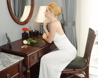 Elegant silk lace slip dress gown/ evening gown/ sleepwear/ silk dress/ lace dress/ wedding bridal dress/ bridesmaid dress/gift for her