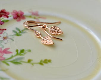 Rose Gold Leaf Earrings, Tiny Drop Earrings Rose Gold Jewellery, Petite Earrings, Rose Gold Charm Dangle Earrings, Wife Gift Rose Gold Gifts