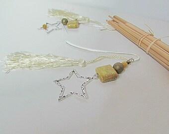 Kit bookmark star in Silver - Ceramic Pearl - tassel - 139
