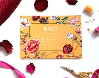 RSVP Cards in Ochre Peony