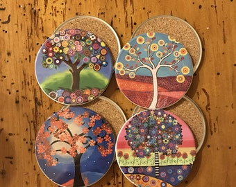 Colorful Tree Coasters - set of 4